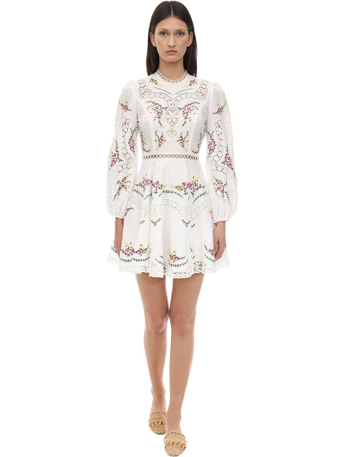ZIMMERMANN Printed Linen & Cotton Lace Mini Dress