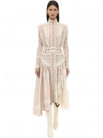 ZIMMERMANN Printed Satin & Lace Midi Dress