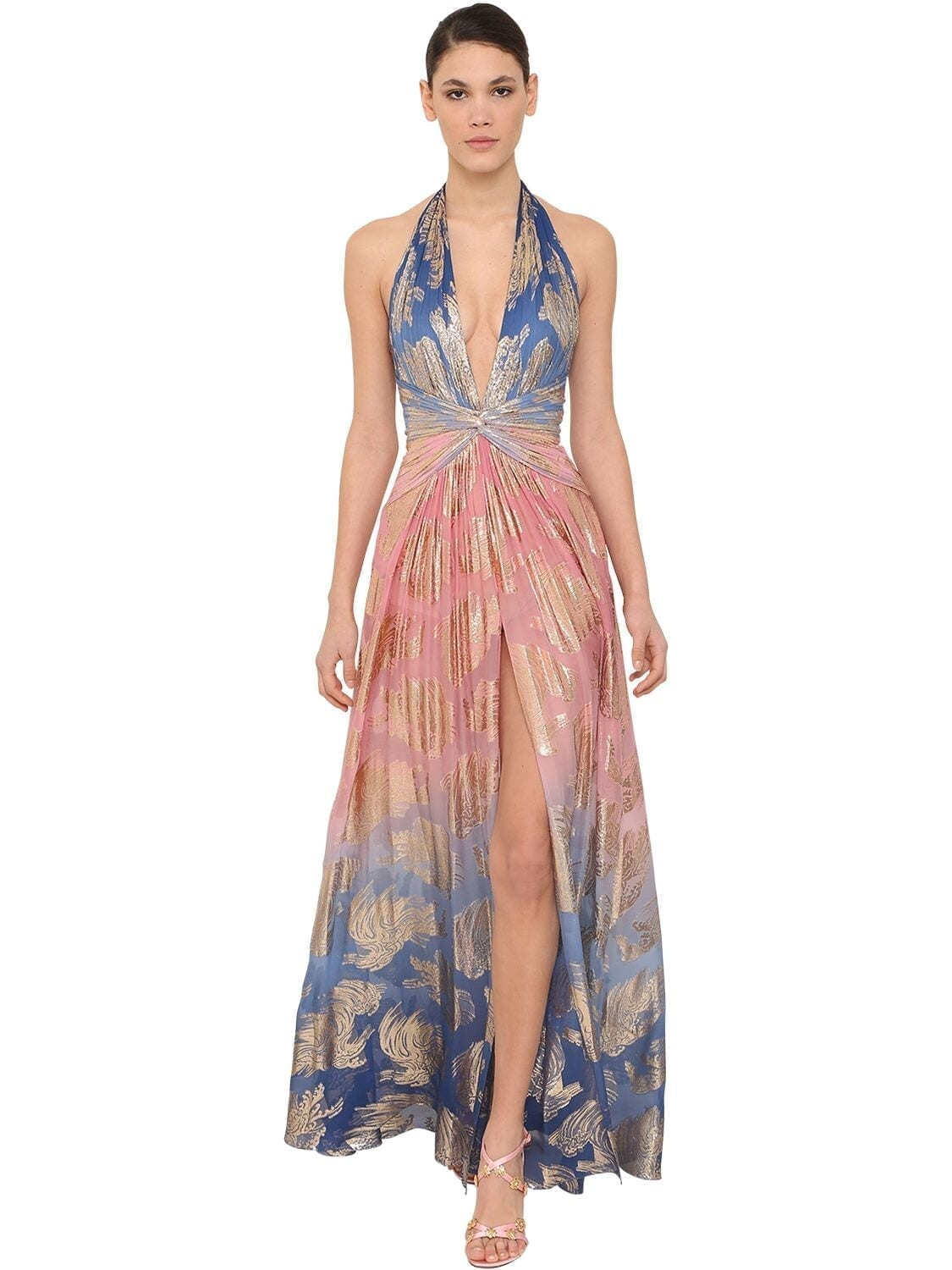 ZUHAIR MURAD Long Silk Blend Halter Neck Dress