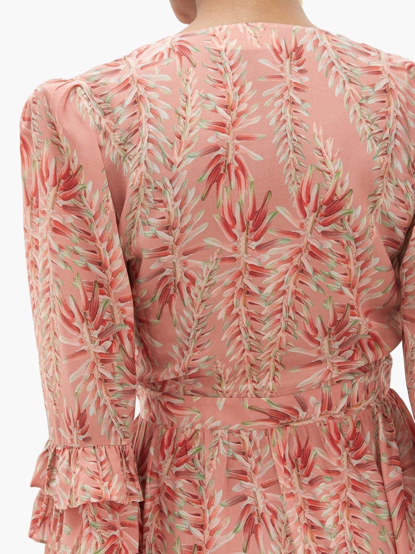 ADRIANA DEGREAS Aloe-print Ruffled-hem Silk-crepe Dress