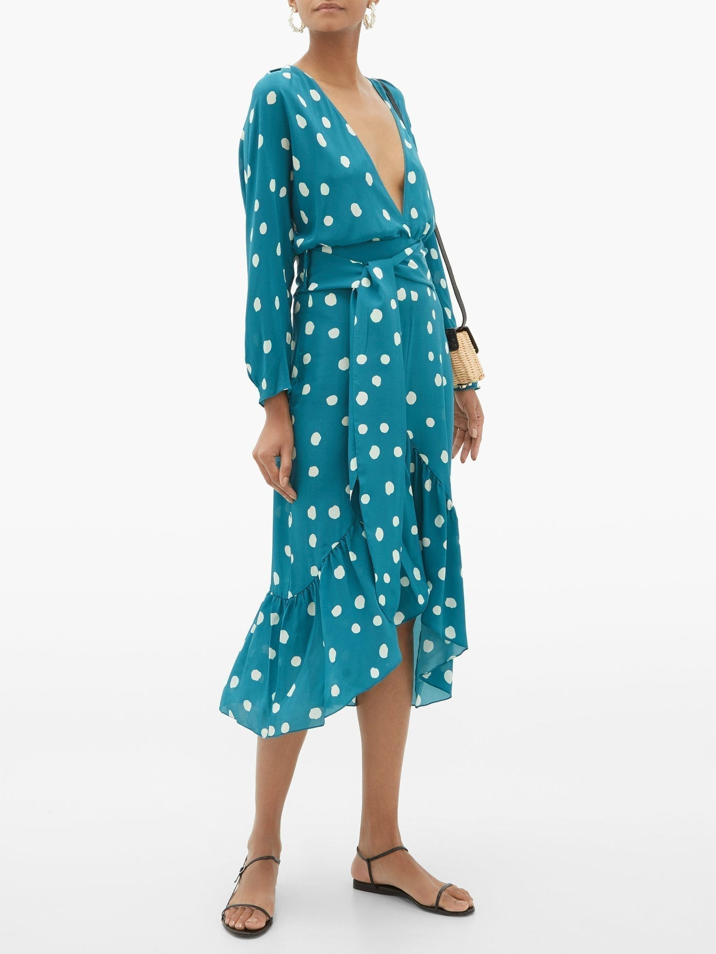 ADRIANA DEGREAS Polka Dot-print Silk-crepe Midi Dress
