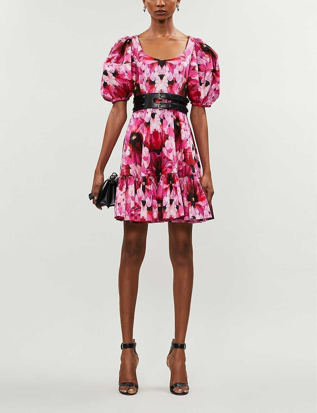 ALEXANDER MCQUEEN Abstract Floral-print Cotton-poplin Mini Dress