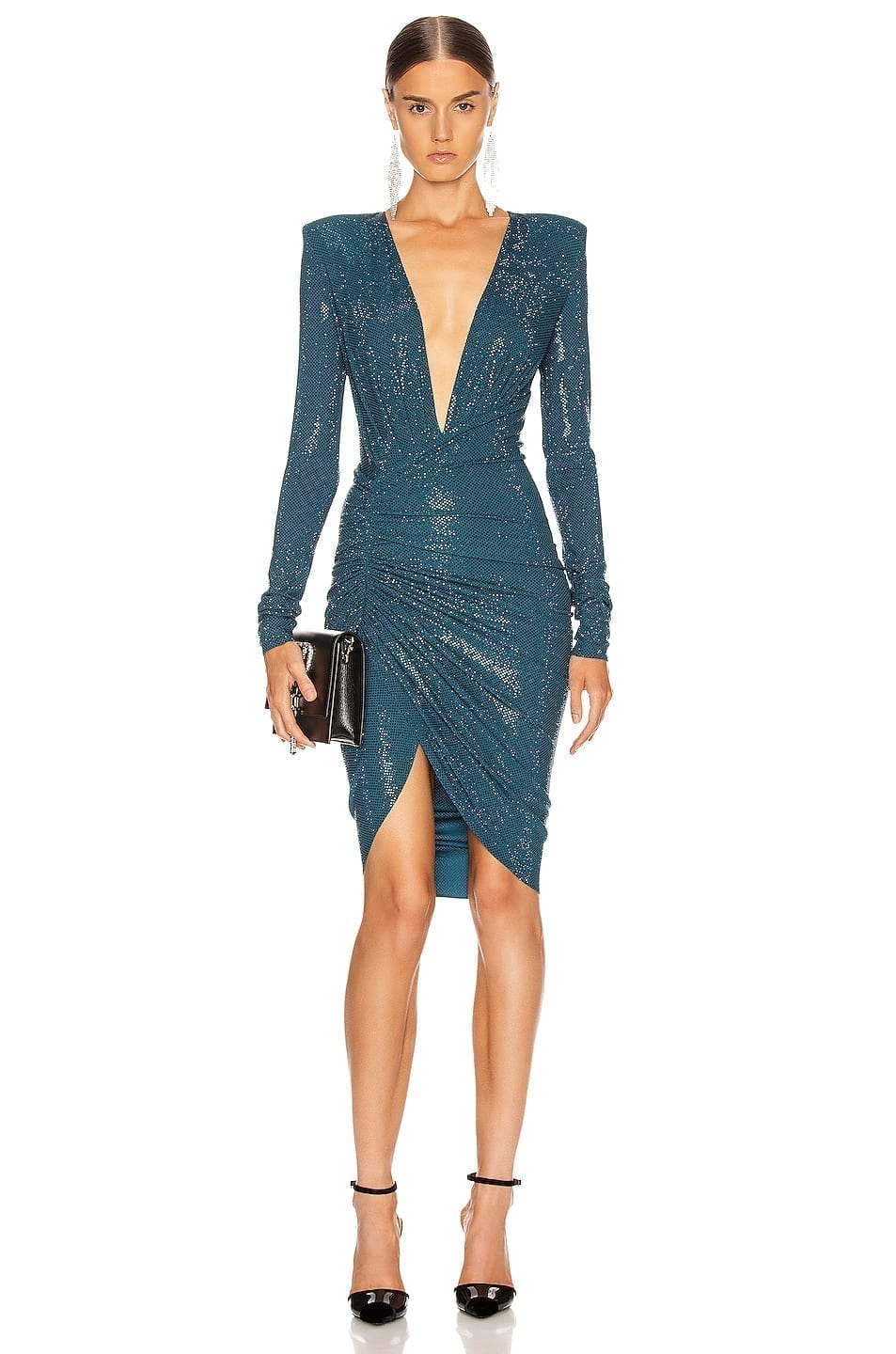 ALEXANDRE VAUTHIER Ruched Microcrystal Mini Dress