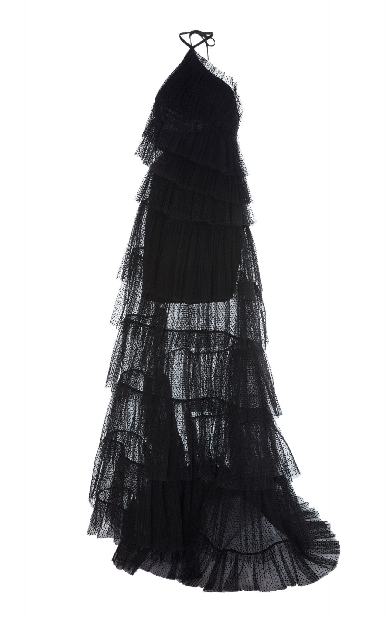 ALEXIS Justina Tiered Tulle Halterneck Gown