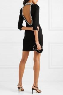 ALICE + OLIVIA Inka Open-back Crystal-embellished Cady Mini Dress