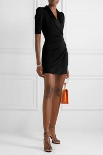 ALICE + OLIVIA Remi Wrap-effect Satin-trimmed Stretch-jersey Mini Dress