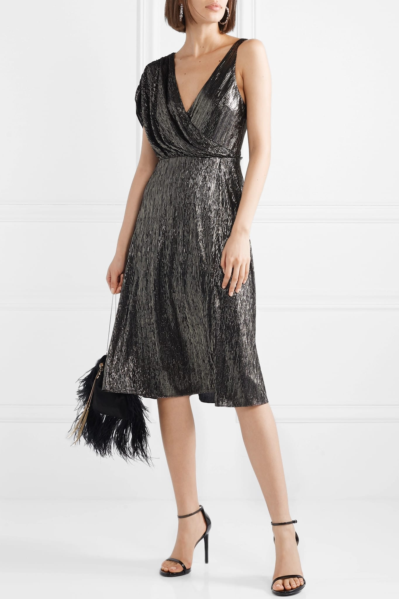 ALICE + OLIVIA Roxy Wrap-effect Draped Lurex Dress