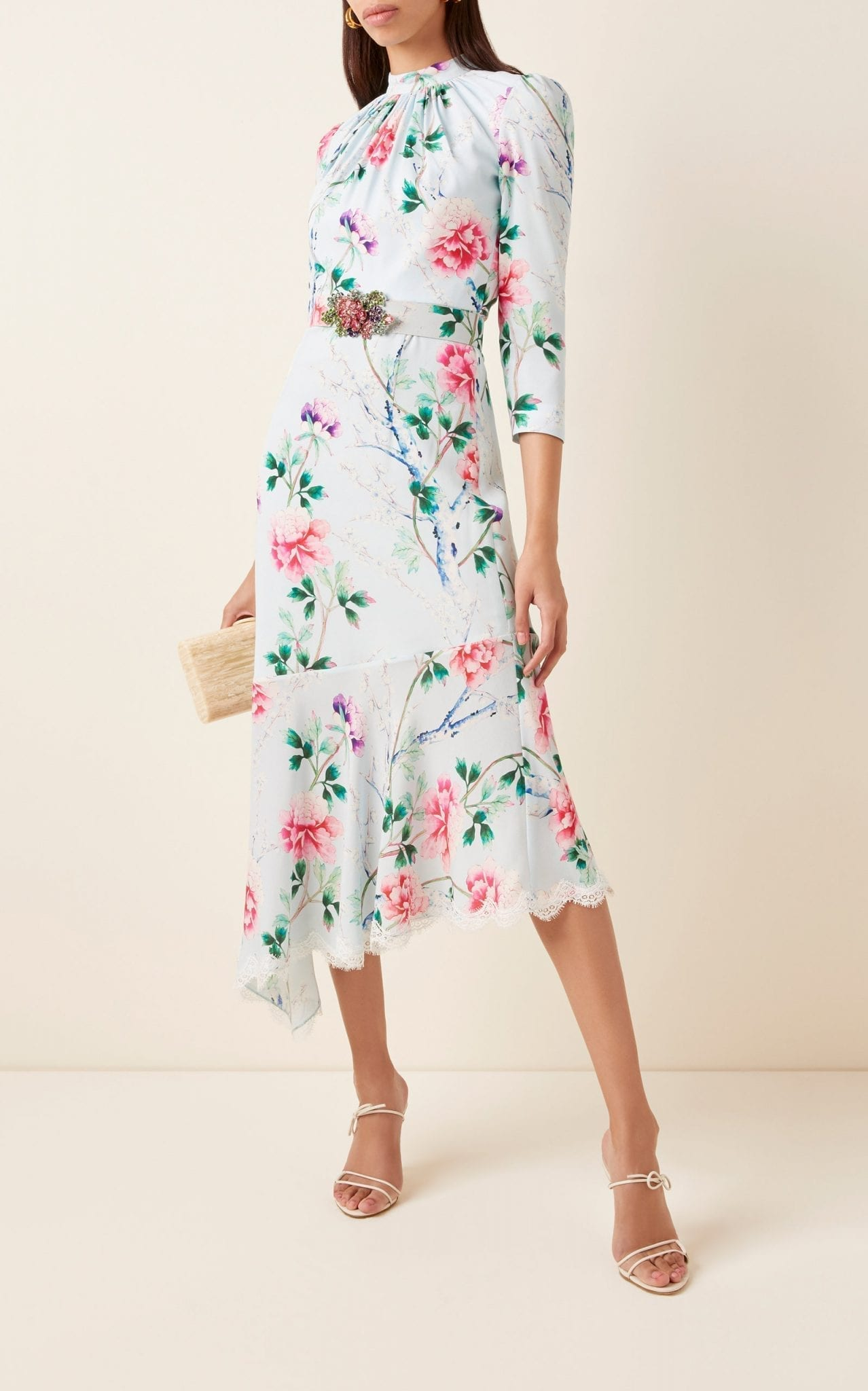 ANDREW GN Asymmetric Floral Silk Midi Dress