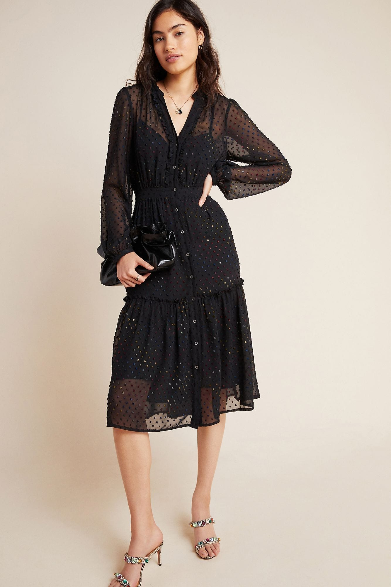 ANTHROPOLOGIE Audrey Clip Dot Shirt Dress