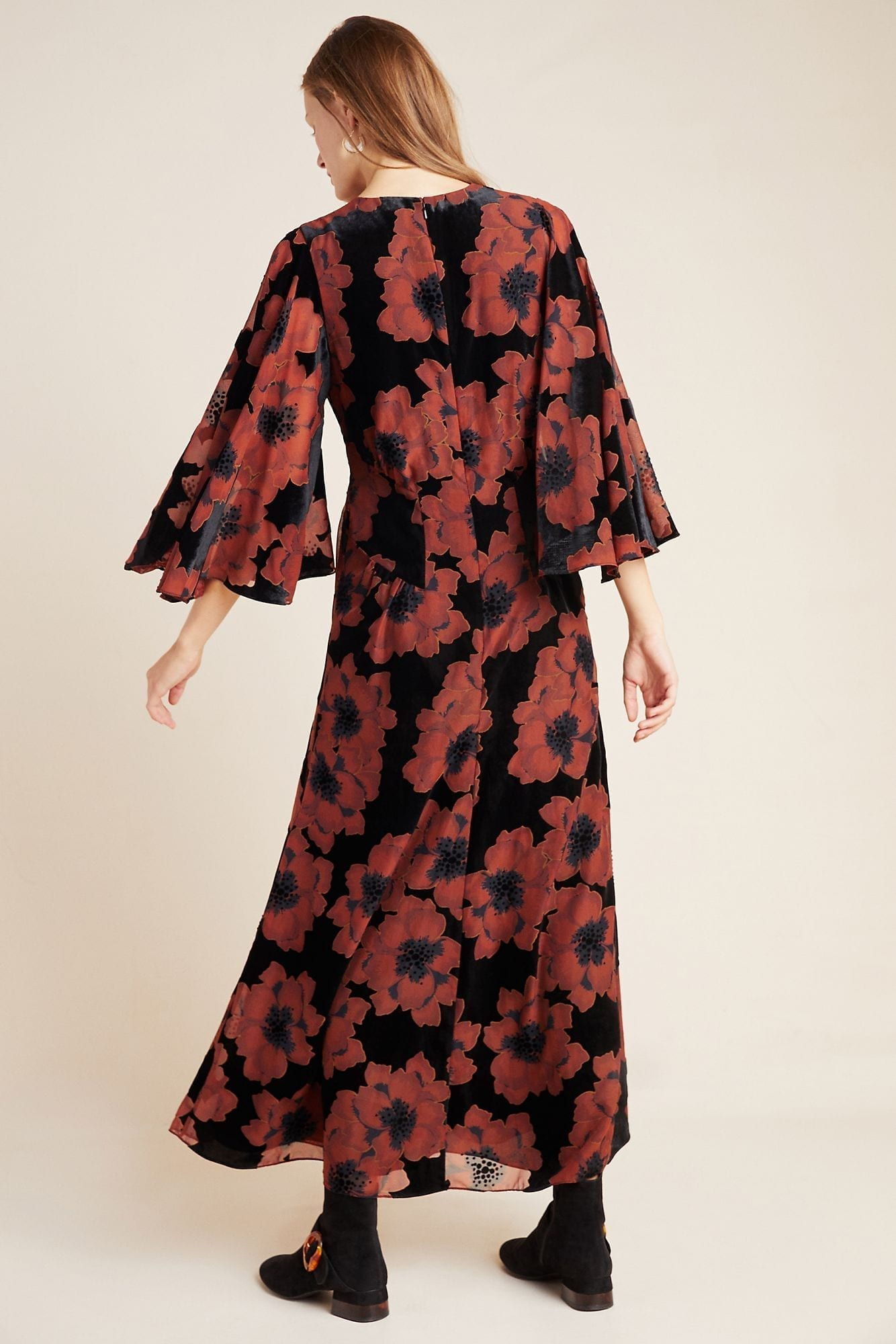 ANTHROPOLOGIE Margie Flocked Maxi Dress