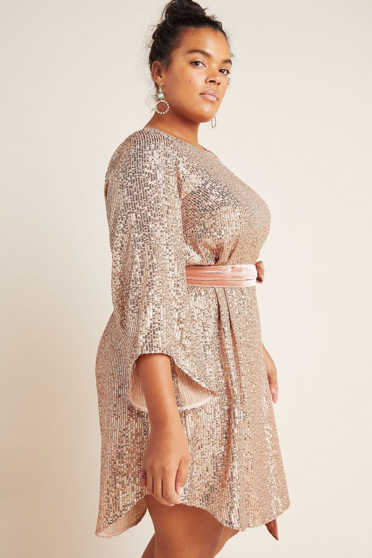 ANTHROPOLOGIE Starling Sequined Tunic Dress