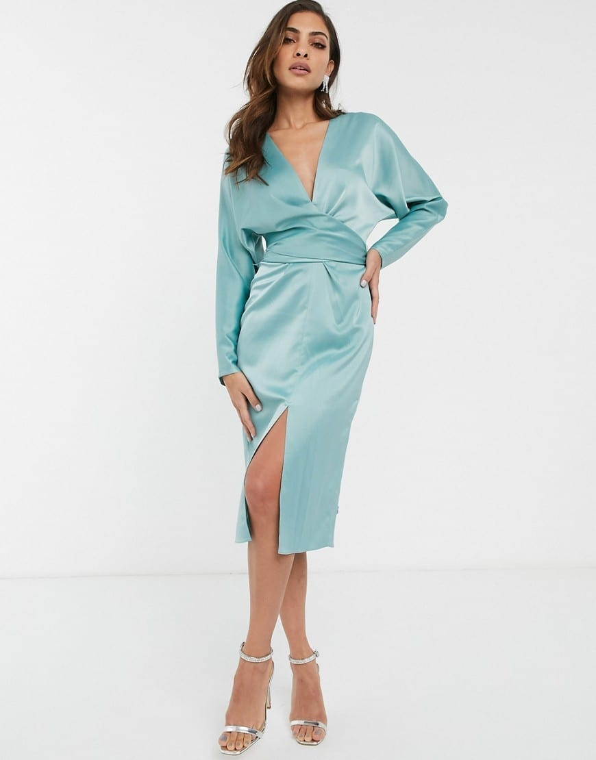 ASOS DESIGN Batwing Sleeve And Wrap Waist Midi Dress