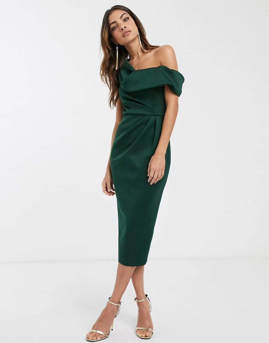 ASOS DESIGN Drape Fallen Shoulder Midi Dress