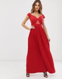 ASOS DESIGN Premium Lace And Pleat Bardot Maxi Dress