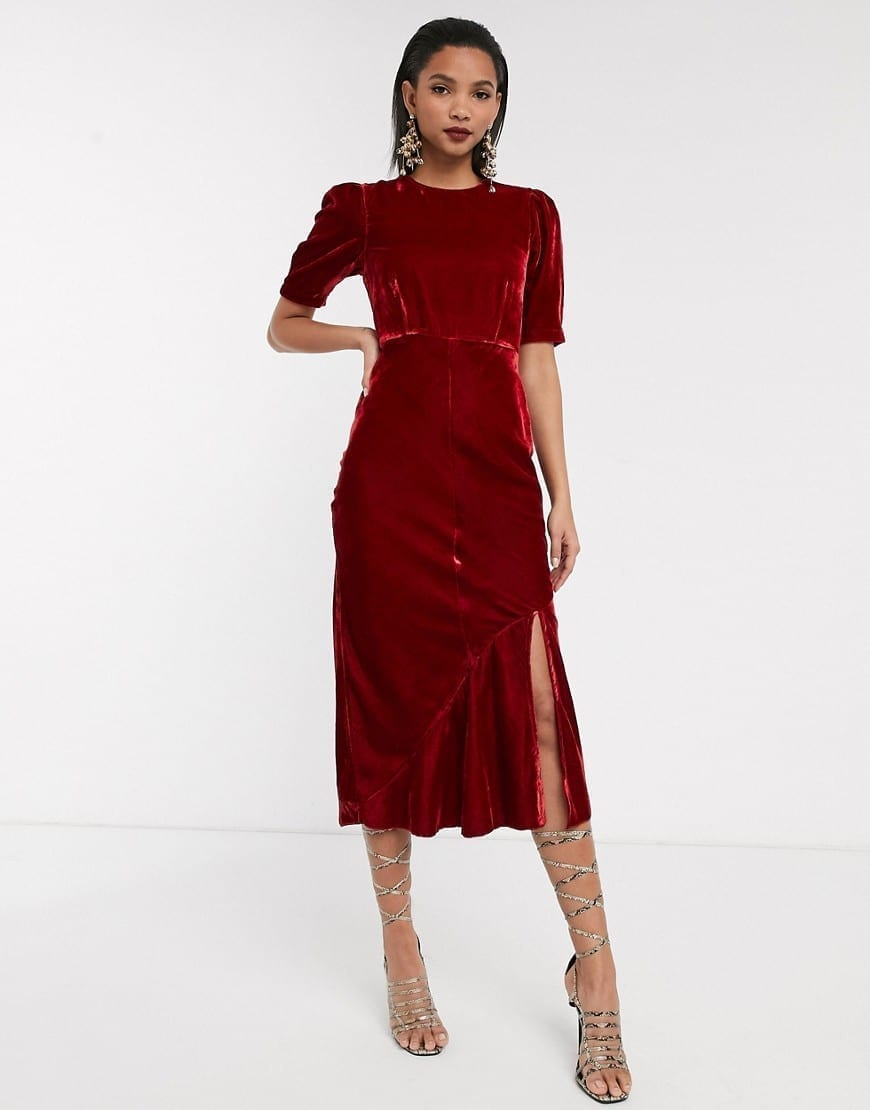 ASOS DESIGN Puff Sleeves Velvet Bias Midi Dress