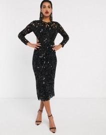 ASOS EDITION Sequin Cutwork Open Back Midi Dress