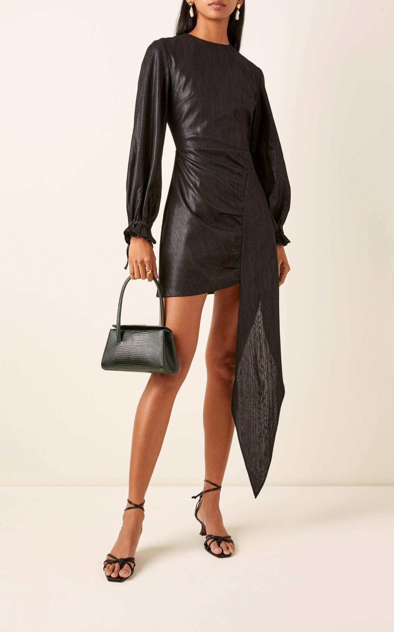ATOIR Paco Draped Metallic Georgette Mini Dress