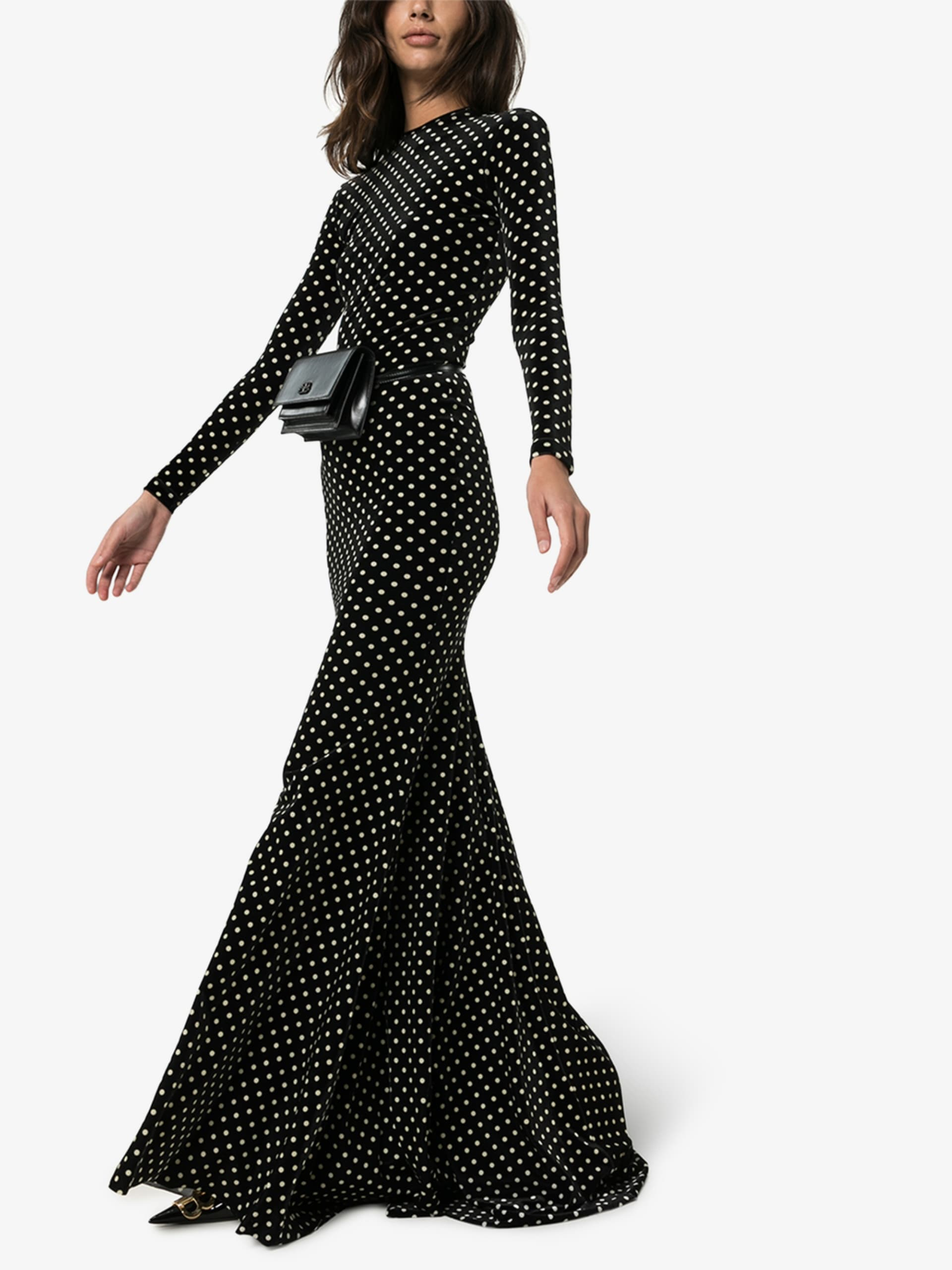 BALENCIAGA Velvet Polka Dot Maxi Dress