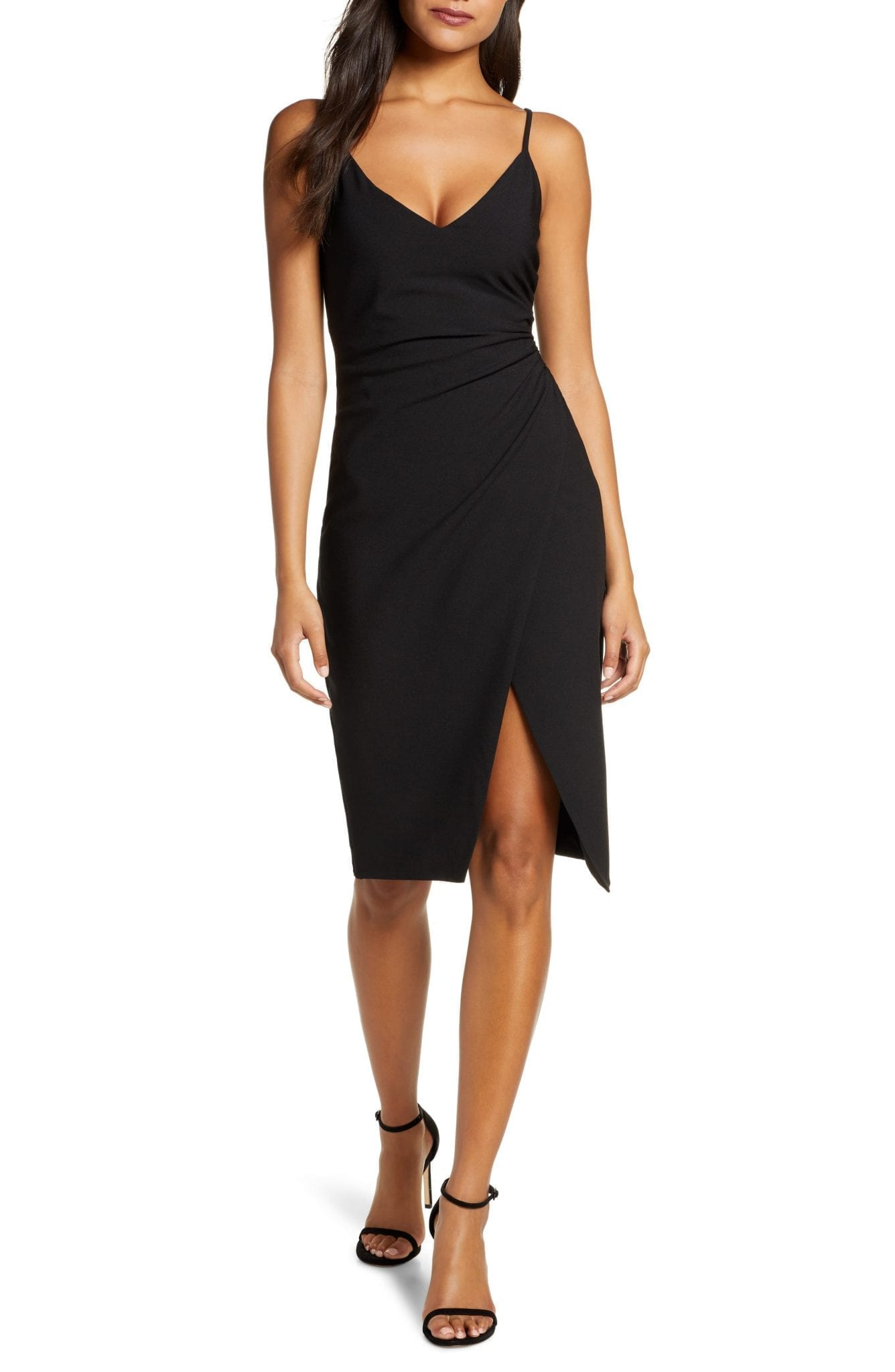 BLACK HALO Bowery Ruched Crepe Sheath Dress