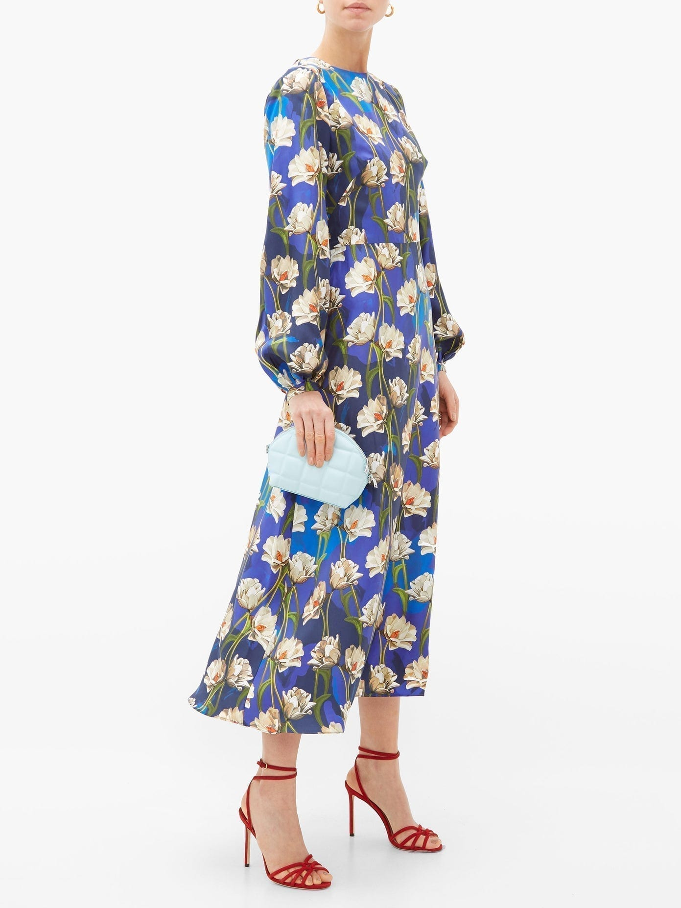 BORGO DE NOR Elista Floral-print Silk-twill Dress