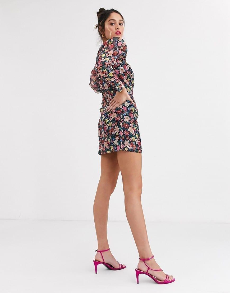 C MEO COLLECTIVE Shoulder Volume Long Sleeve Mini Dress