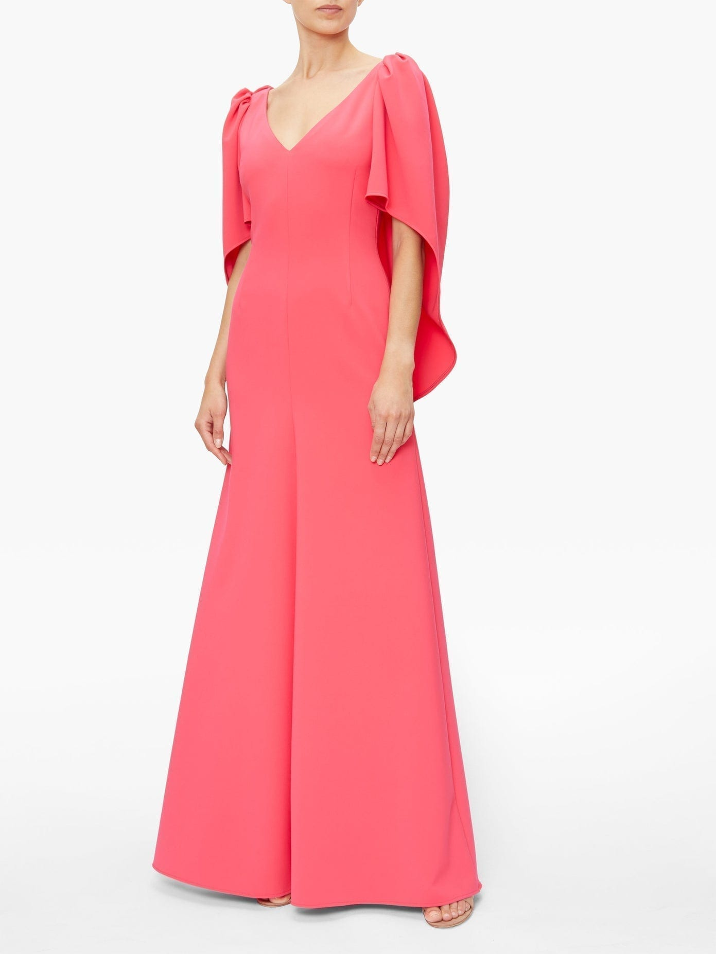 CAROLINA HERRERA Cape-sleeve Crepe Palazzo Maxi Dress