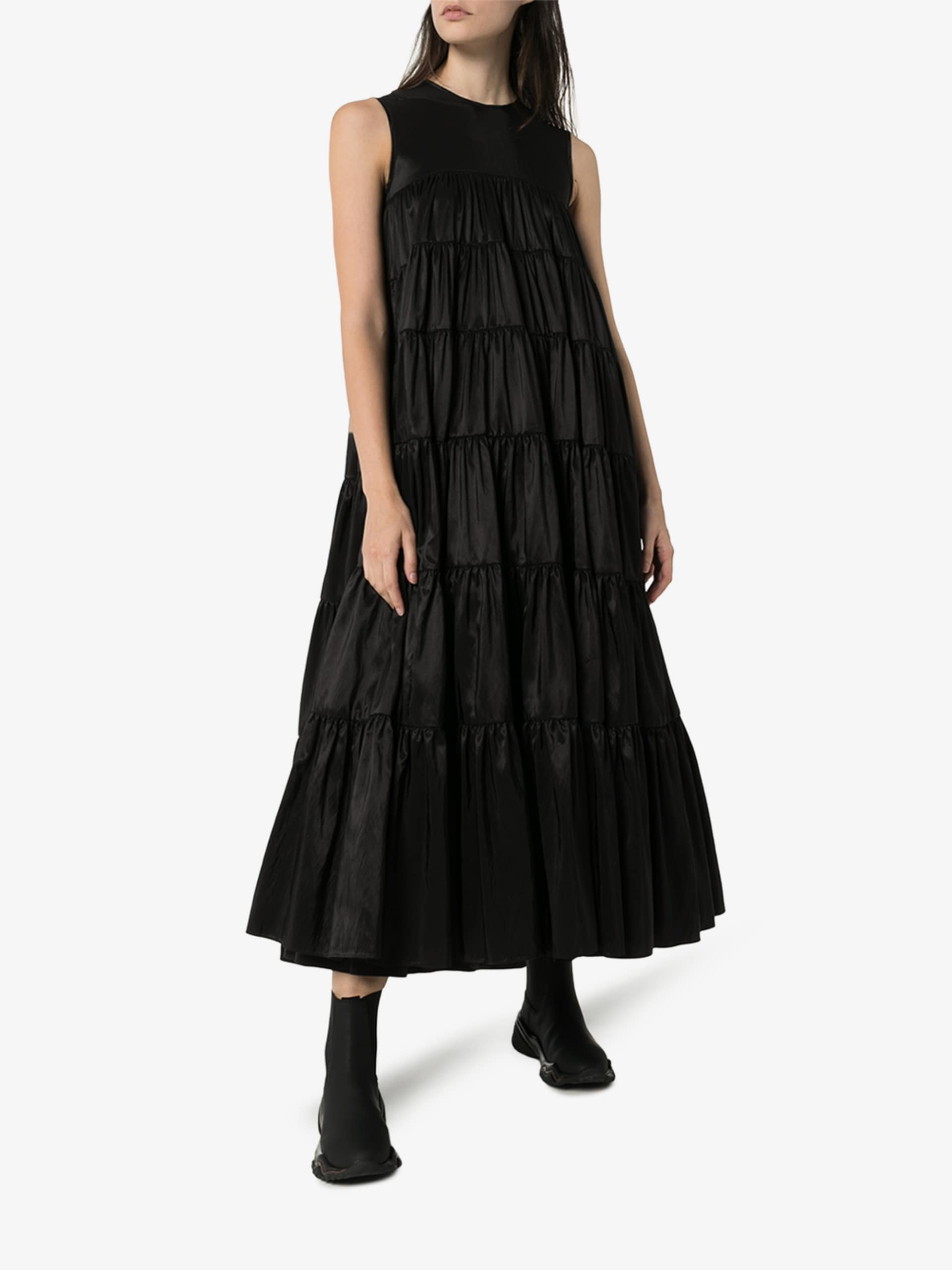 CECILIE BAHNSEN Sleeveless Tiered Maxi Dress