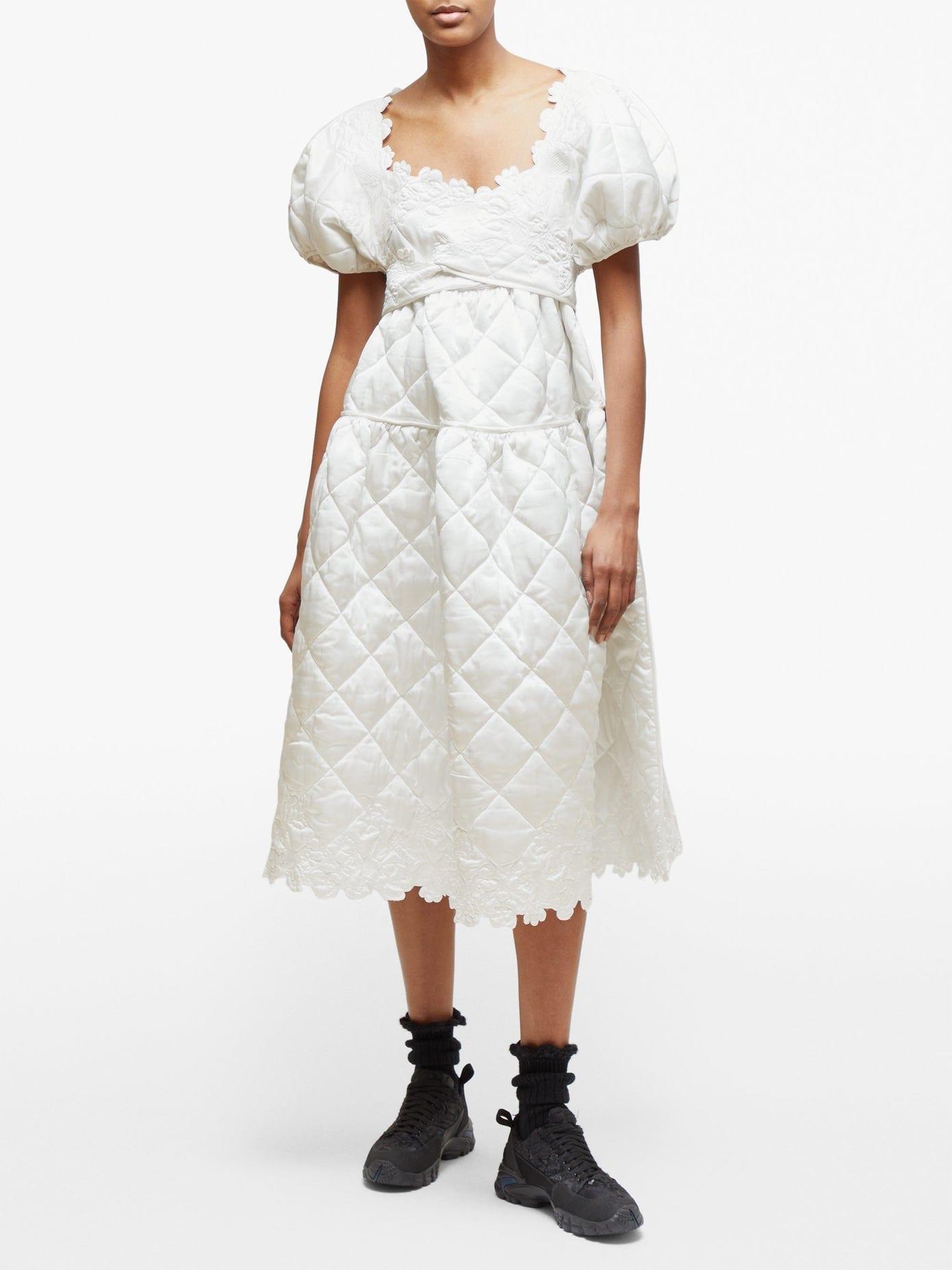 CECILIE BAHNSEN Tessa Puff-sleeve Quilted Silk-satin Midi Dress