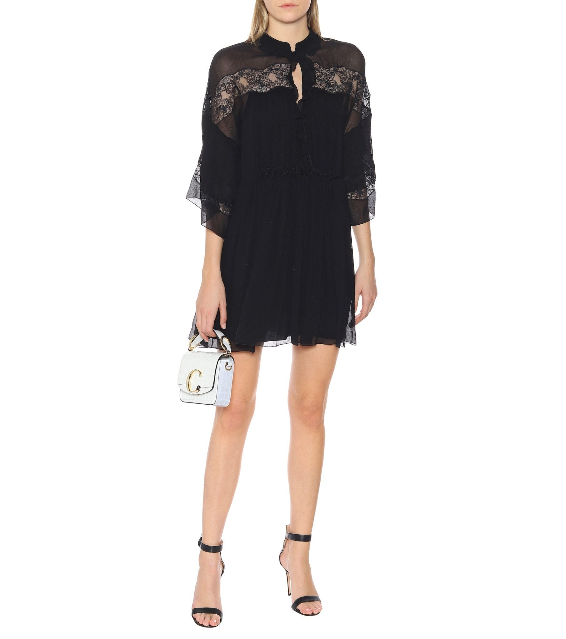 CHLOÉ Embroidered Silk-crêpon Mini Dress
