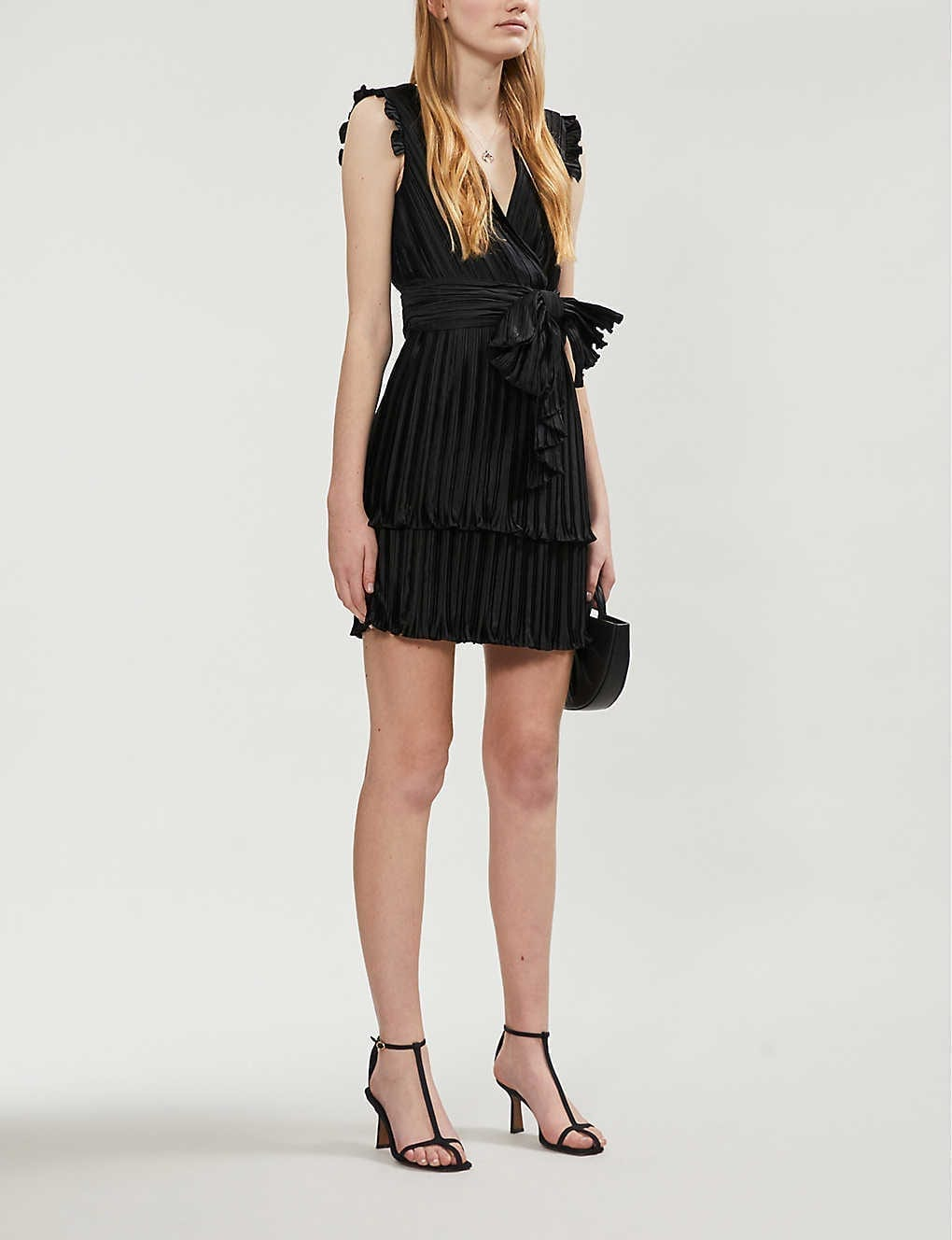 CLAUDIE PIERLOT Sleeveless Pleated Satin Mini Dress