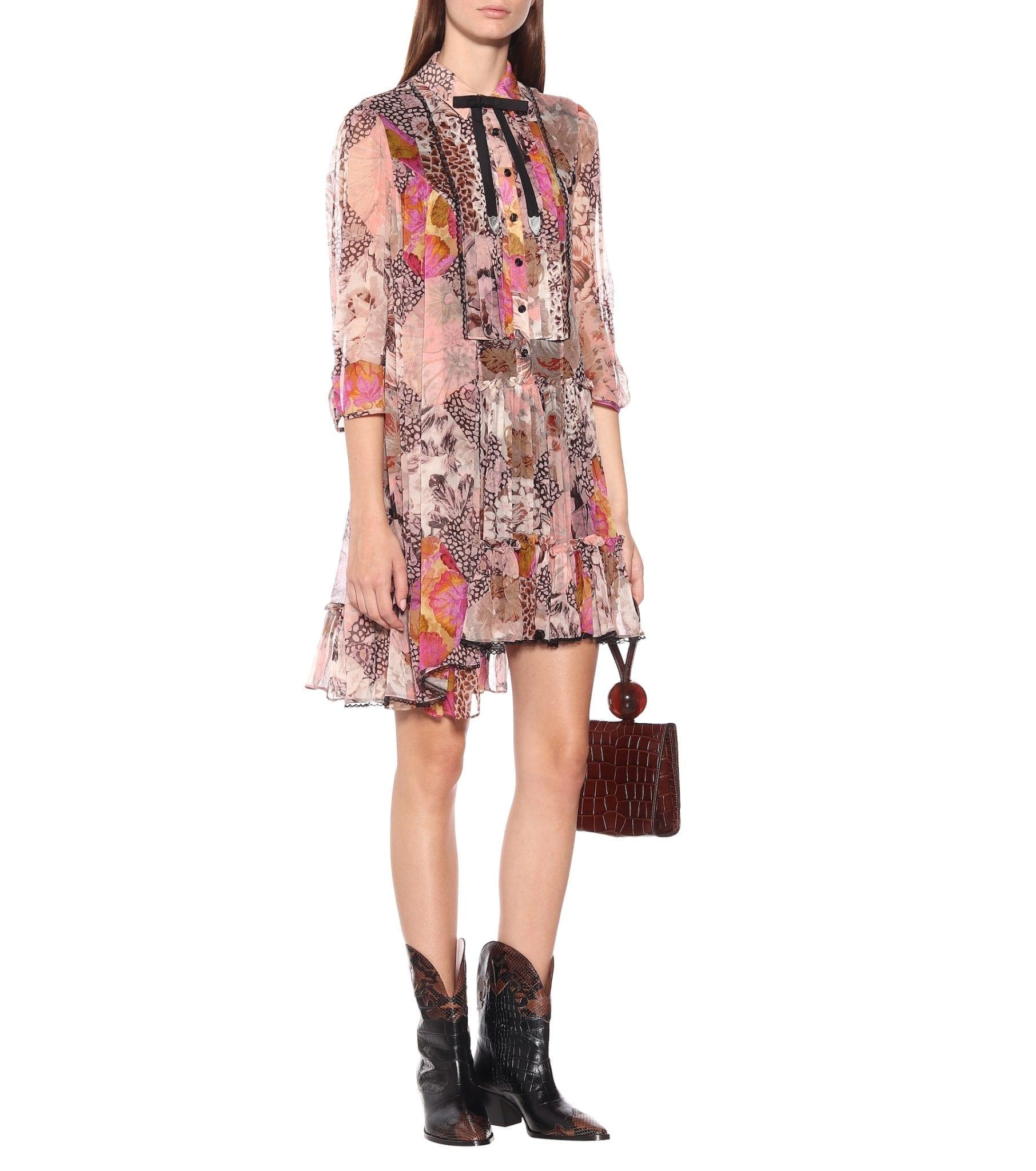 COACH Floral Asymmetric Silk Dress