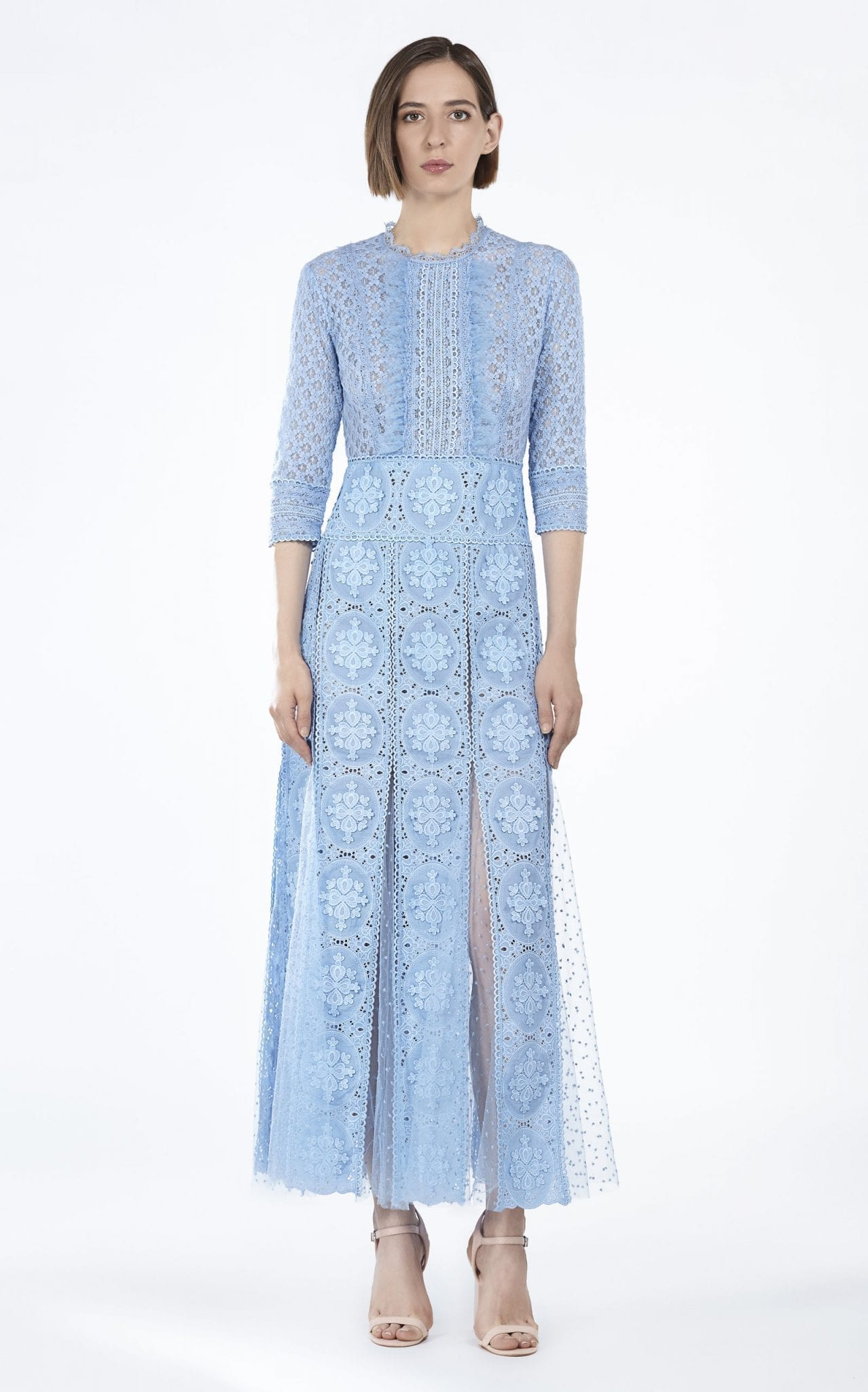COSTARELLOS Embroidered Guipure Lace And Cotton Midi Dress