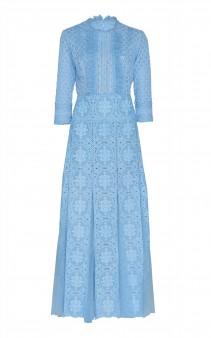 COSTARELLOS Embroidered Guipure Lace And Cotton Midi Dress