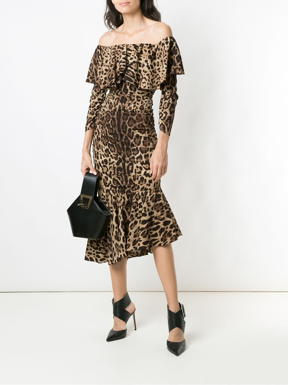 DOLCE & GABBANA Animal Print Peplum Hem Dress