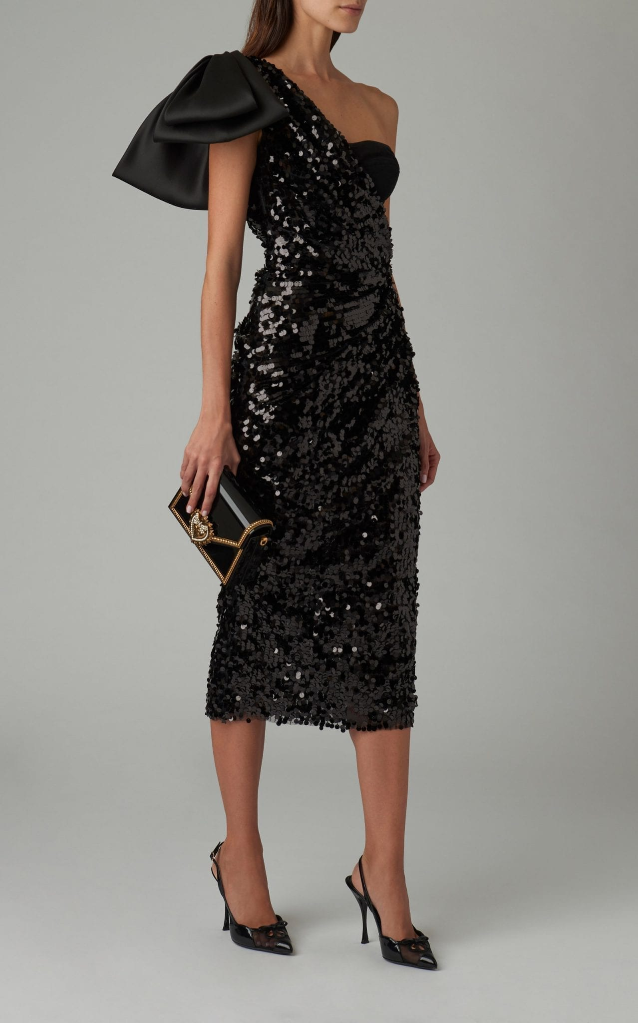 DOLCE & GABBANA Bow-Detailed One-Shoulder Sequined Midi Dress
