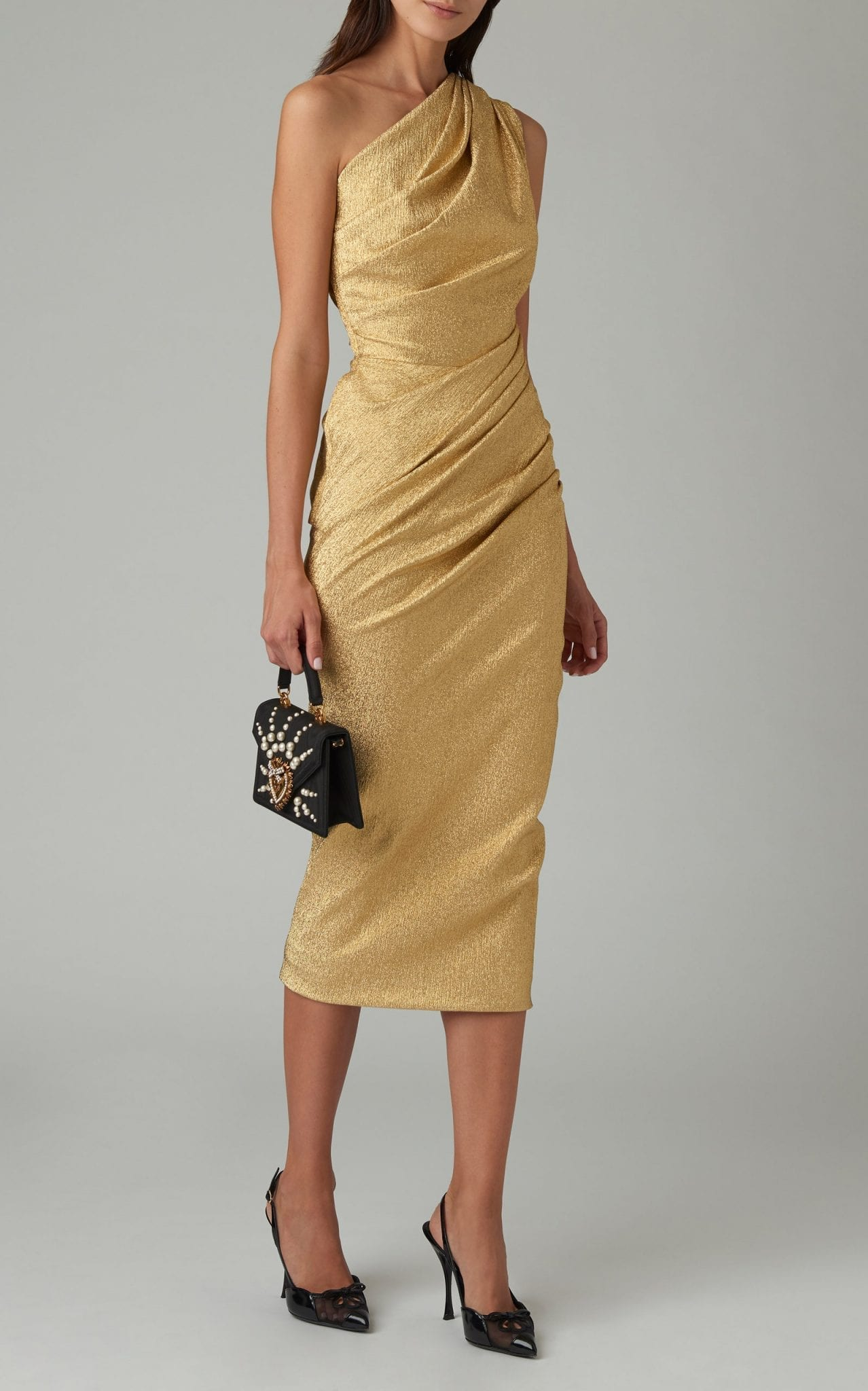 DOLCE & GABBANA One-Shoulder Ruched Silk-Blend Lurex Midi Dress