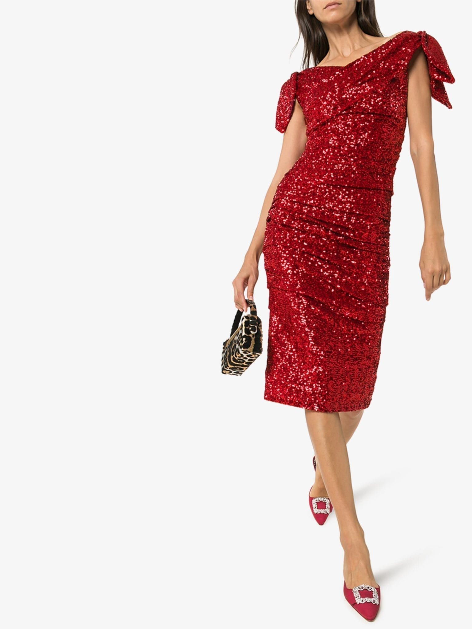 DOLCE & GABBANA Sequinned Ruched Midi Dress