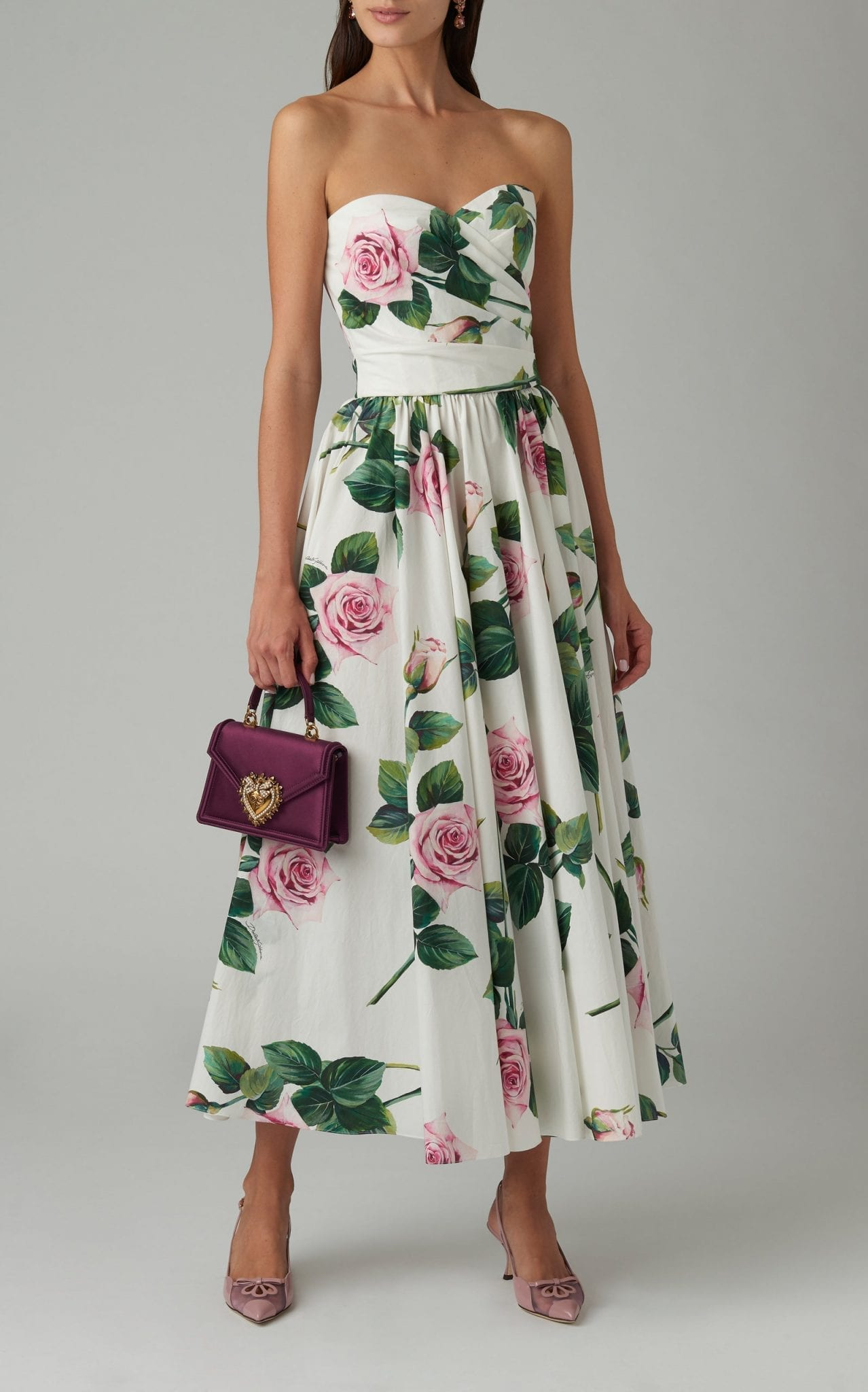 DOLCE & GABBANA Strapless Floral-Print Cotton-Poplin Midi Dress