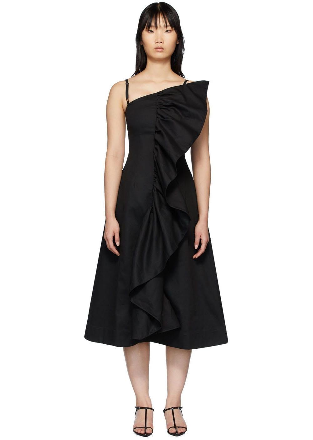 EDIT SSENSE Exclusive Black Tuck Frill Dress
