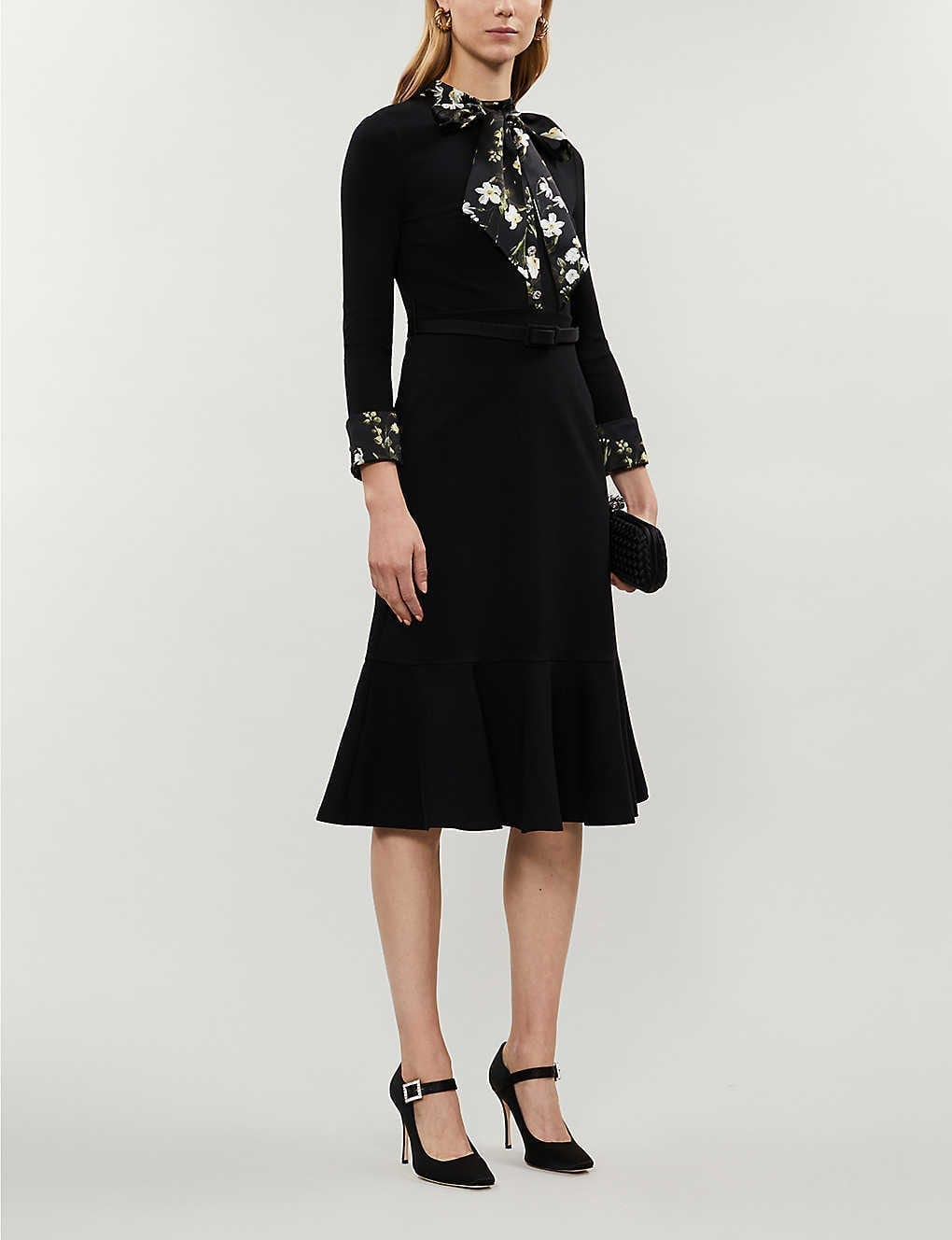 ERDEM Hilma Floral Print-trimmed Stretch-jersey Midi Dress
