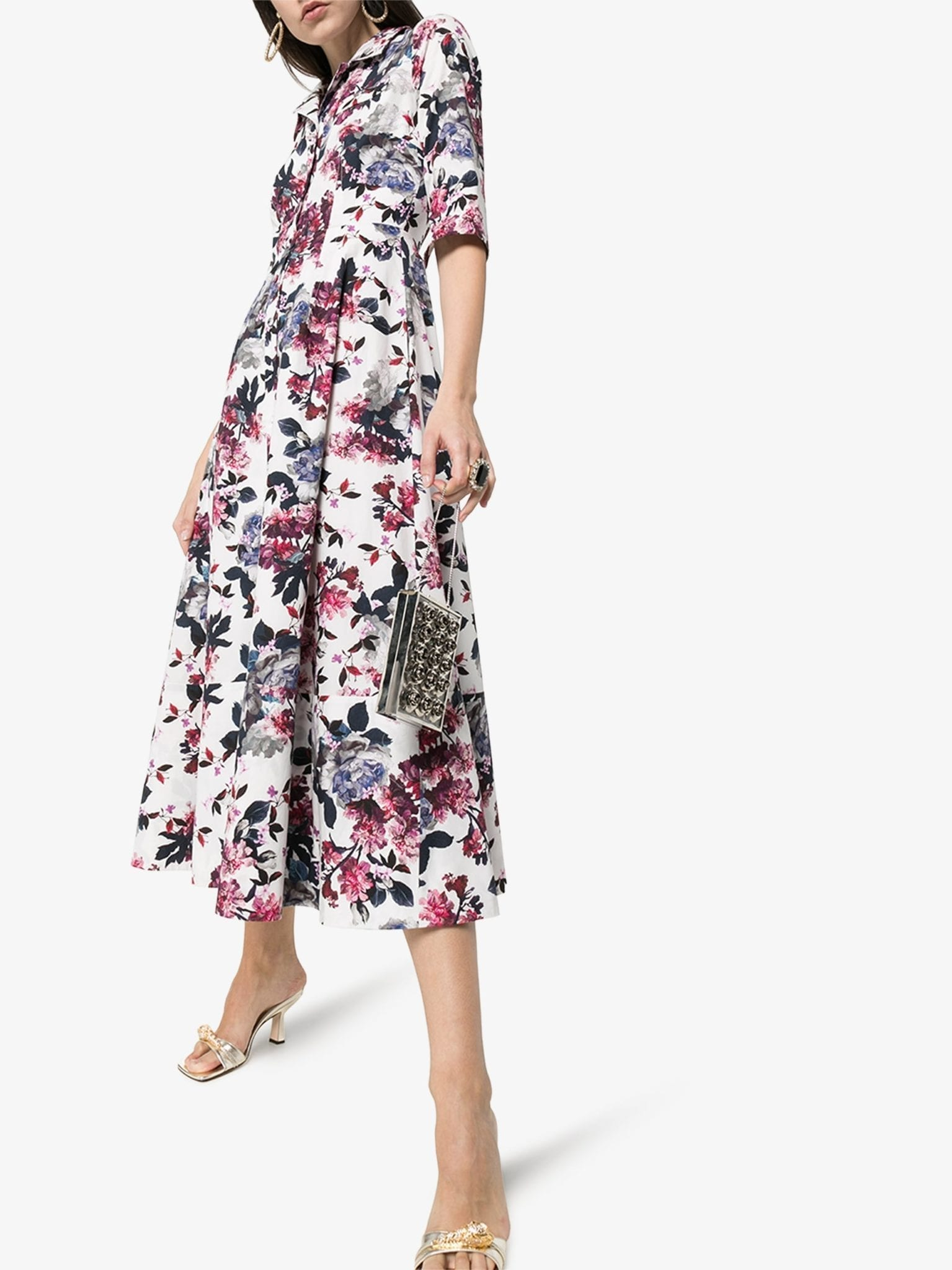 ERDEM Kasia Floral Print Flared Shirt Dress