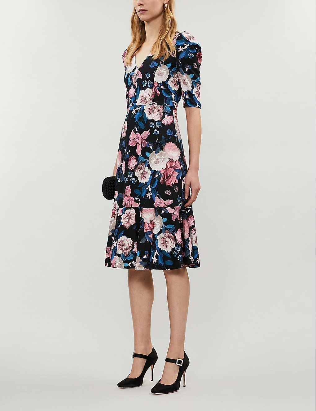 ERDEM Ottavia Puffed-sleeve Floral-print Stretch-jersey Midi Dress