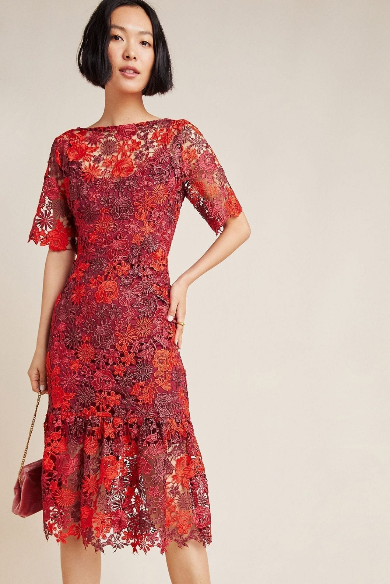 EVA FRANCO Brigitte Embroidered Midi Dress