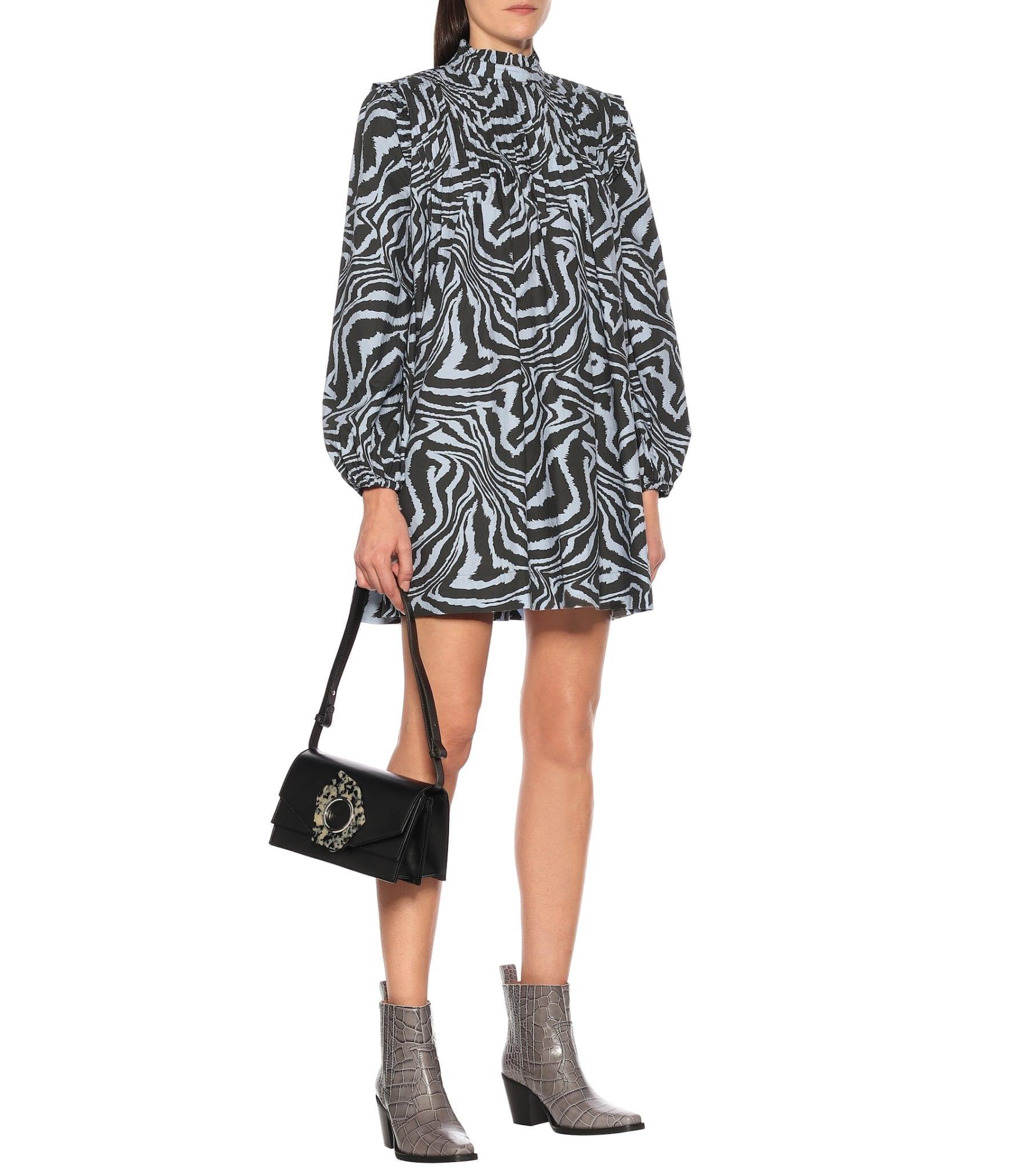 GANNI Tiger-print Cotton Mini Dress