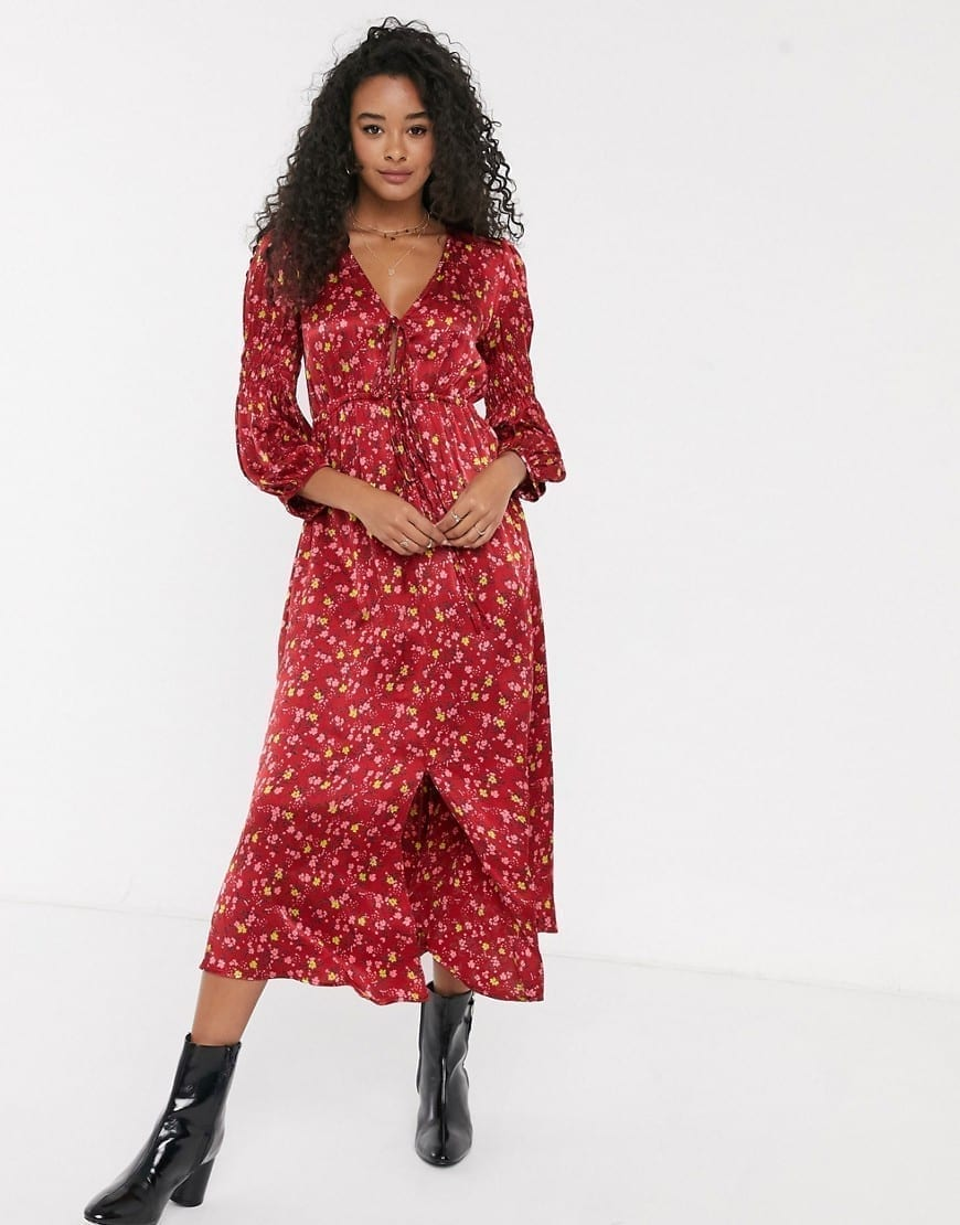 GHOST Clara Gloral Gathered Waist Midi Dress