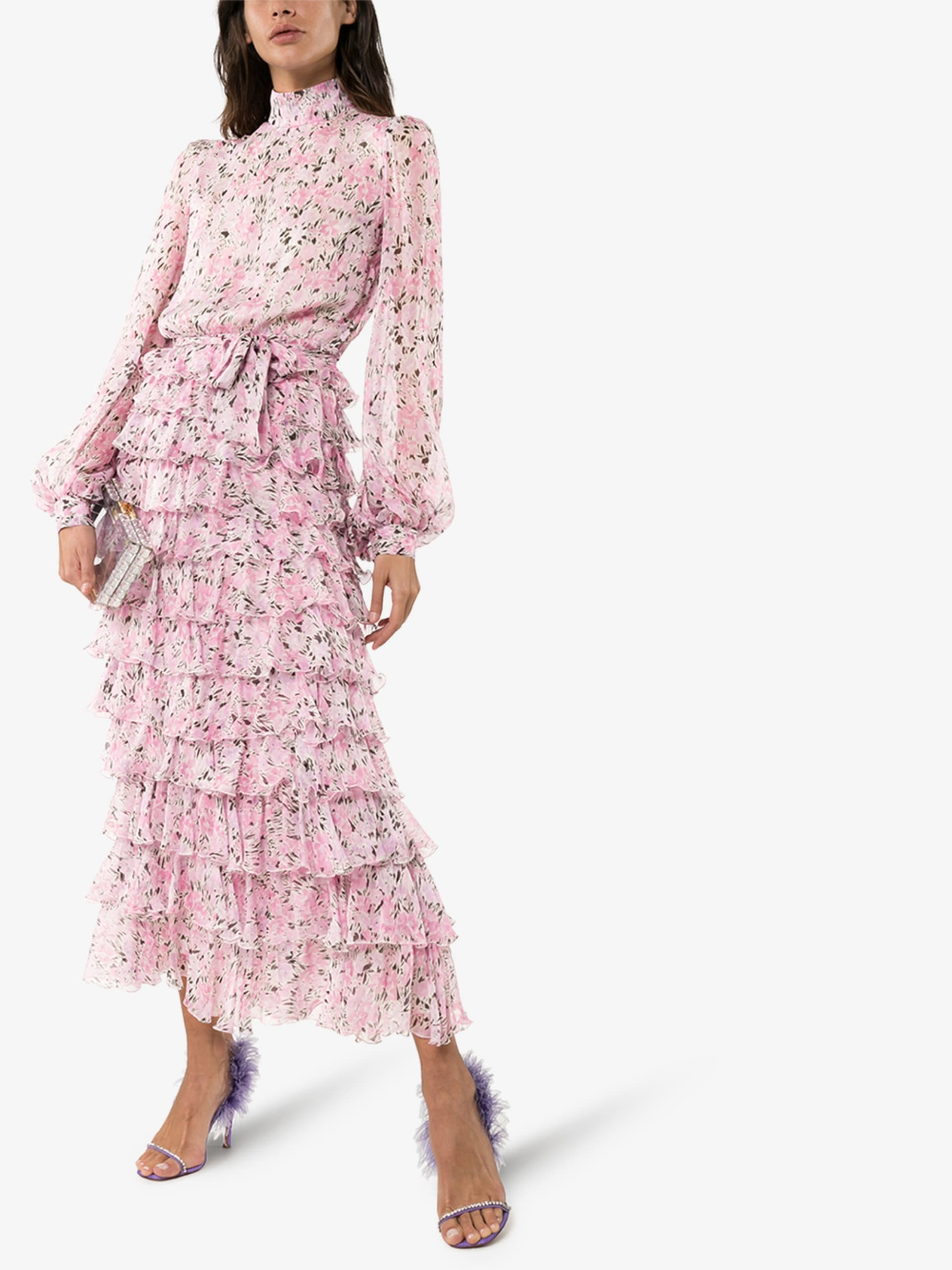 GIAMBATTISTA VALLI Floral Ruffled Silk Dress