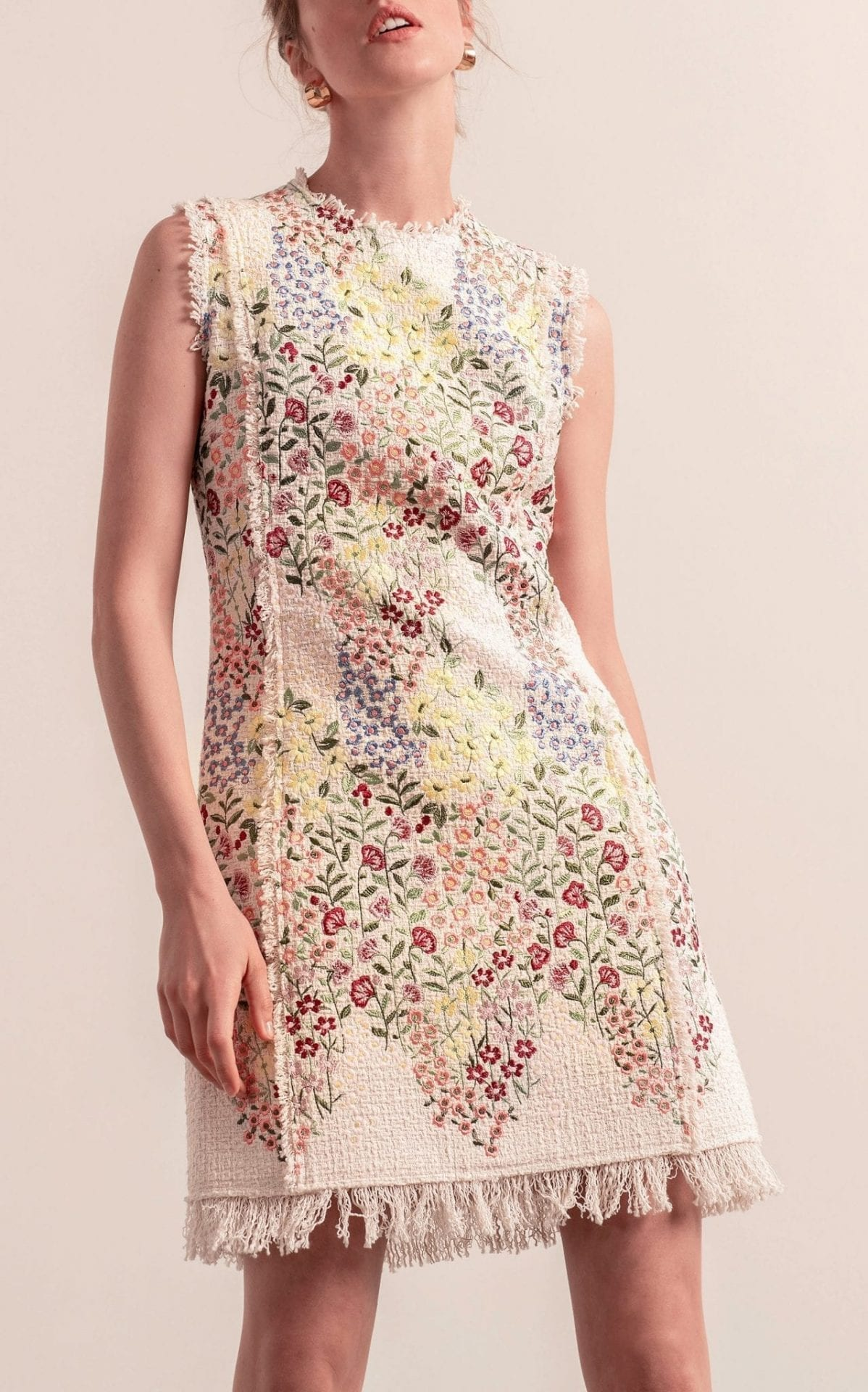 GIAMBATTISTA VALLI Frayed Floral Jacquard Mini Dress