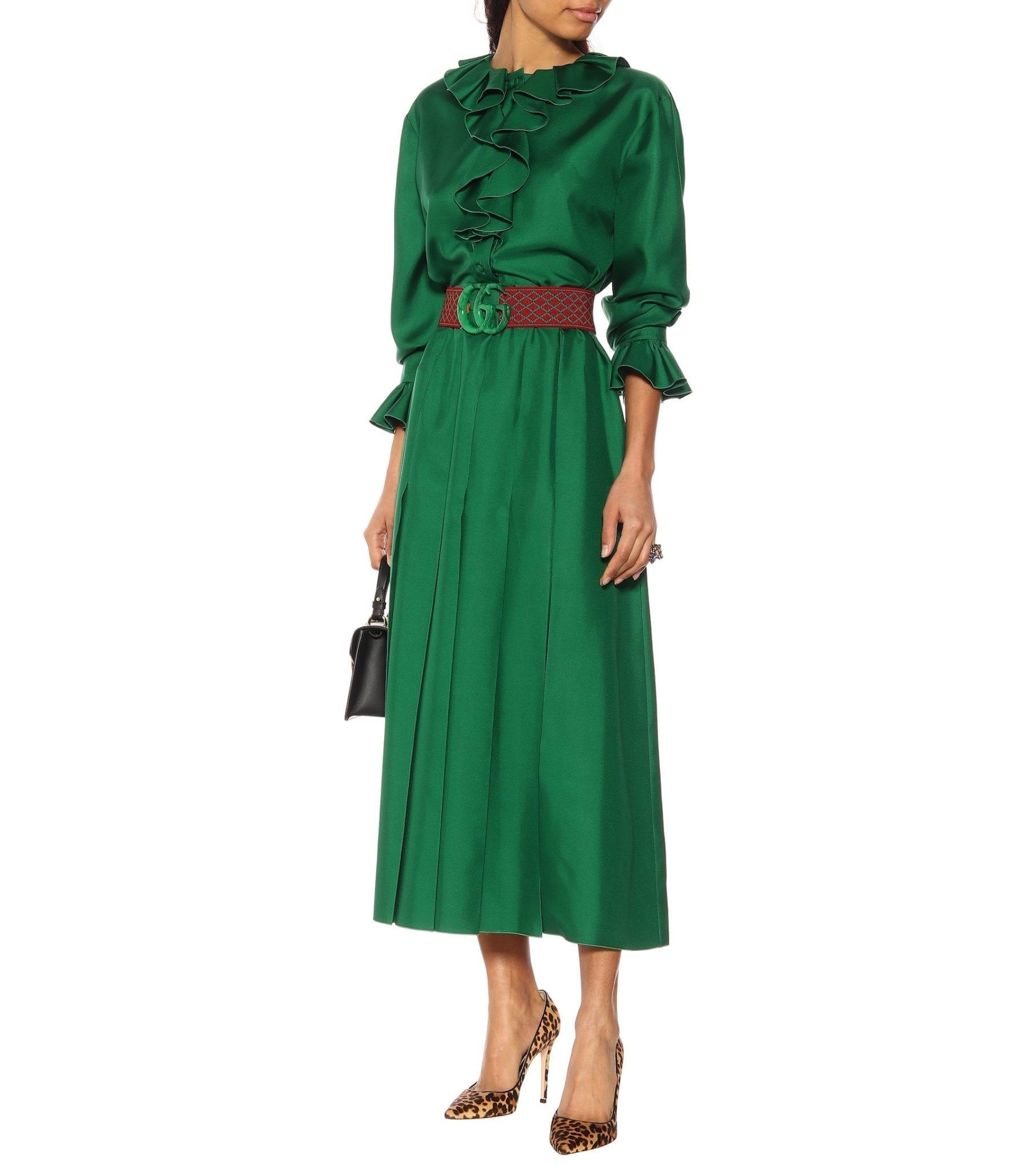 GUCCI Belted Silk Dress