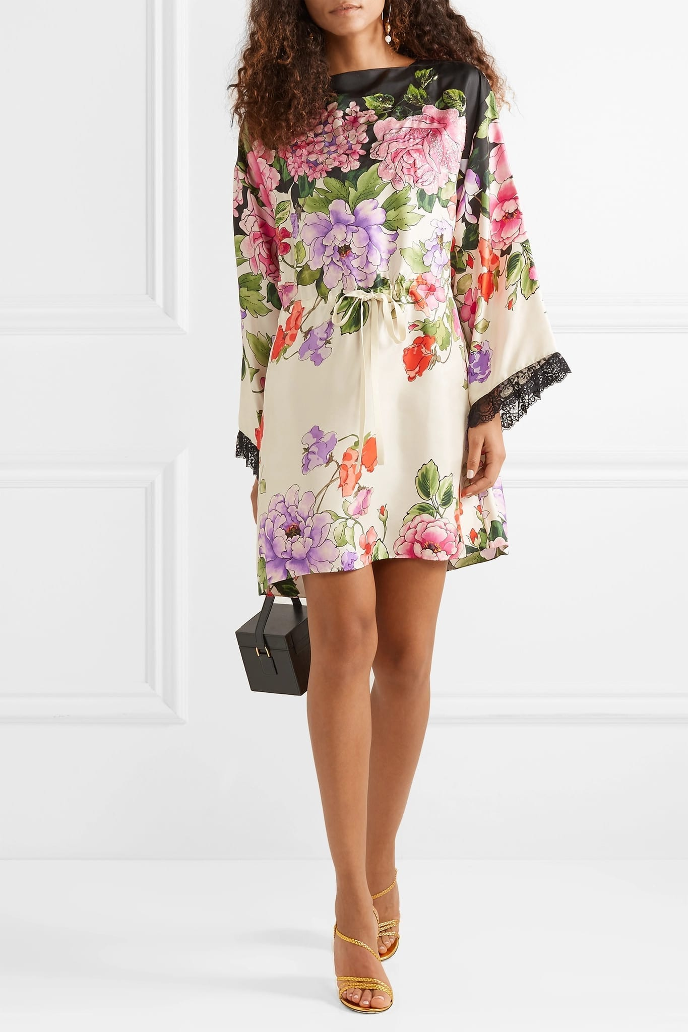 GUCCI Embellished Floral-print Silk-twill Mini Dress