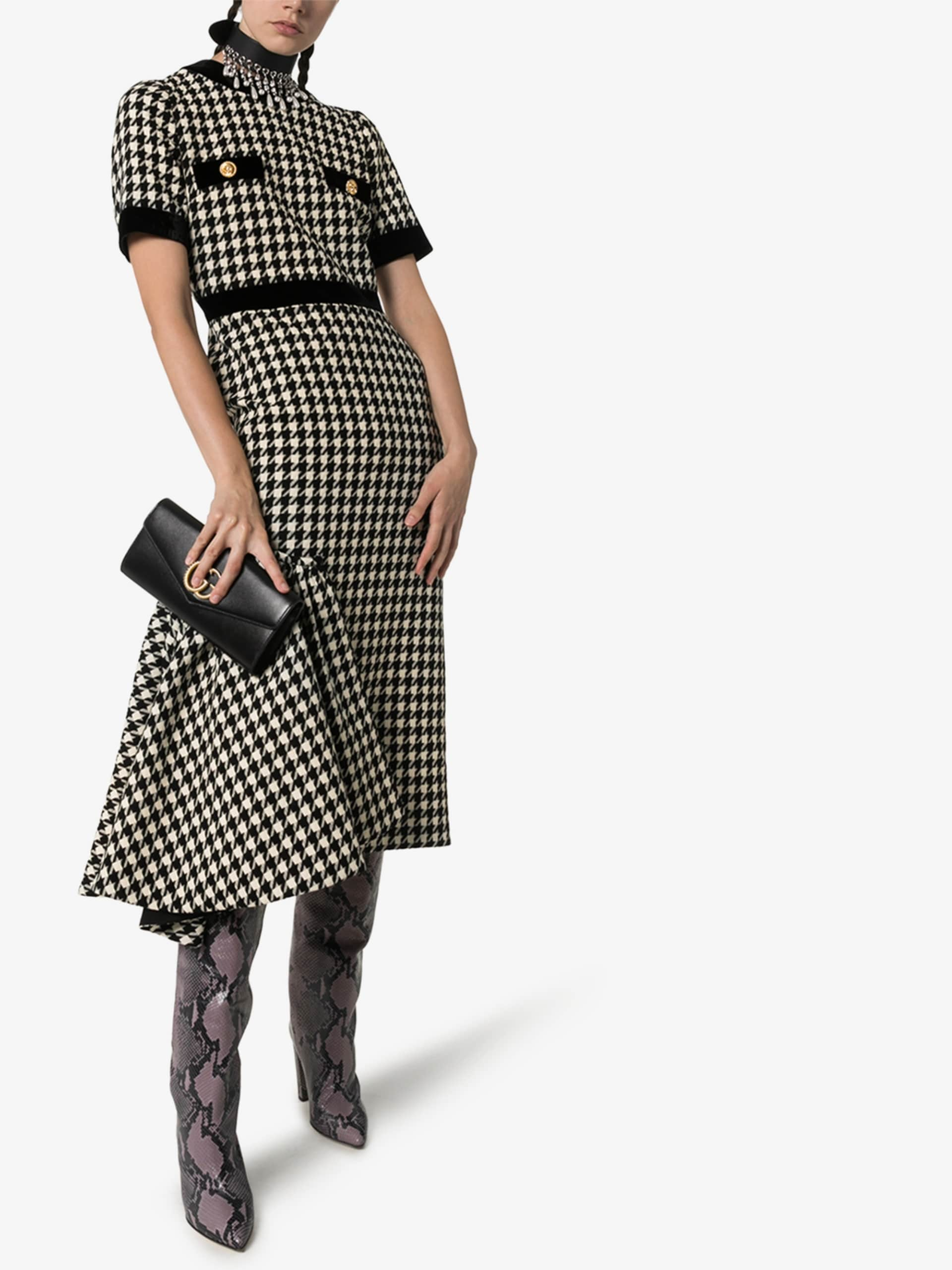 GUCCI Houndstooth Wool Cape Dress